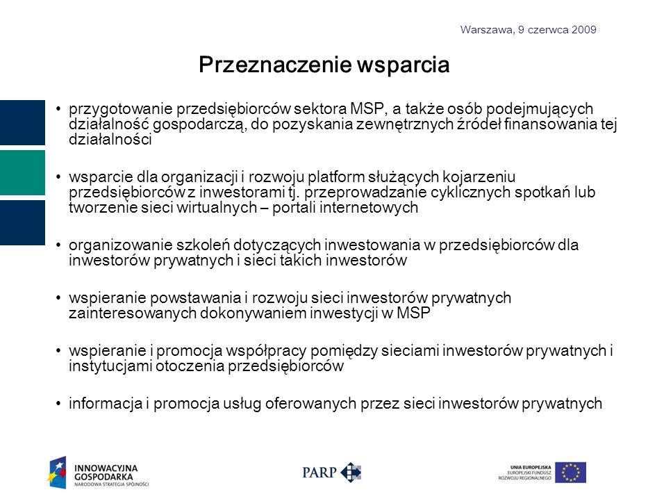 Warszawa, 9 czerwca 2009 Przeznaczenie wsparcia przygotowanie przedsiębiorców sektora MSP, a także osób podejmujących działalność gospodarczą, do pozyskania zewnętrznych źródeł finansowania tej działalności wsparcie dla organizacji i rozwoju platform służących kojarzeniu przedsiębiorców z inwestorami tj.