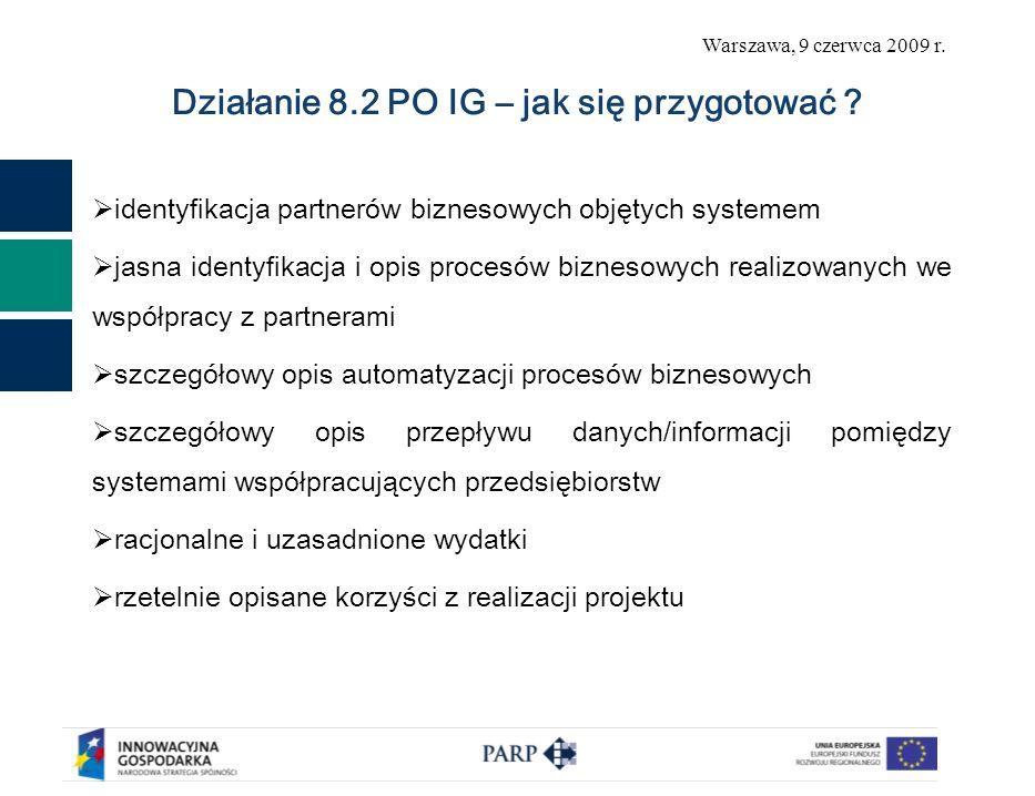 Warszawa, 9 czerwca 2009 r. Działanie 8.2 PO IG – jak się przygotować ? identyfikacja partnerów biznesowych objętych systemem jasna identyfikacja i op