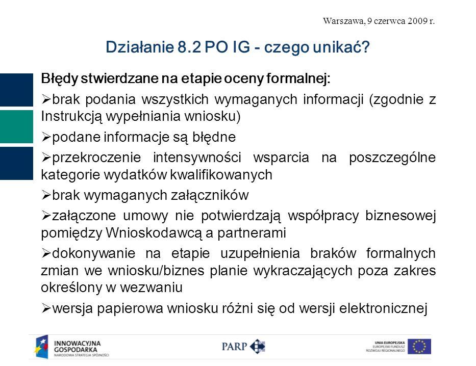 Warszawa, 9 czerwca 2009 r. Błędy stwierdzane na etapie oceny formalnej: brak podania wszystkich wymaganych informacji (zgodnie z Instrukcją wypełnian