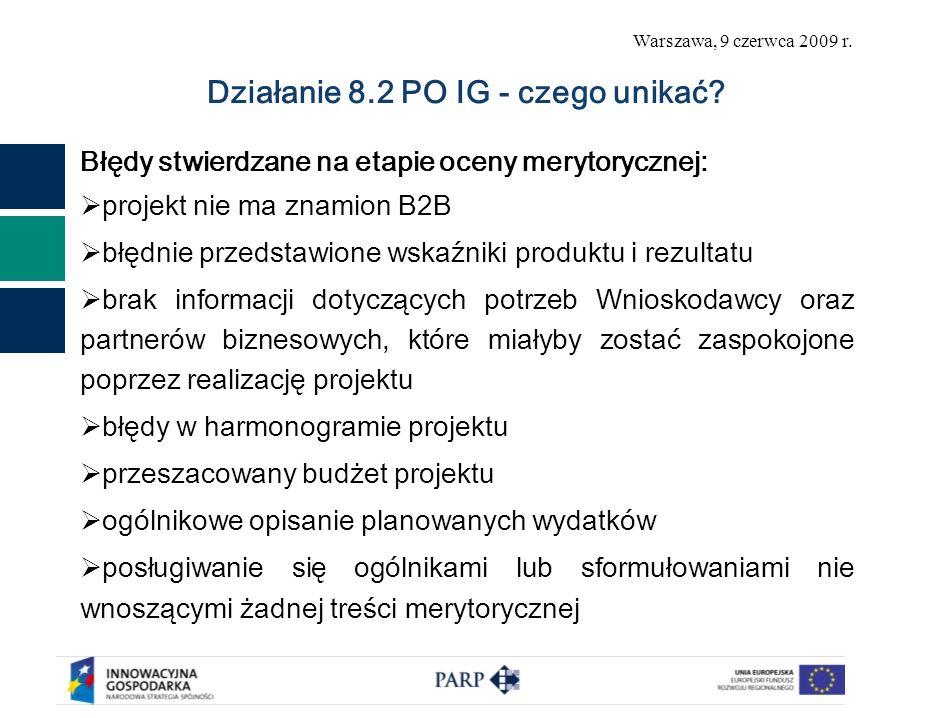 Warszawa, 9 czerwca 2009 r. Działanie 8.2 PO IG - czego unikać? Błędy stwierdzane na etapie oceny merytorycznej: projekt nie ma znamion B2B błędnie pr