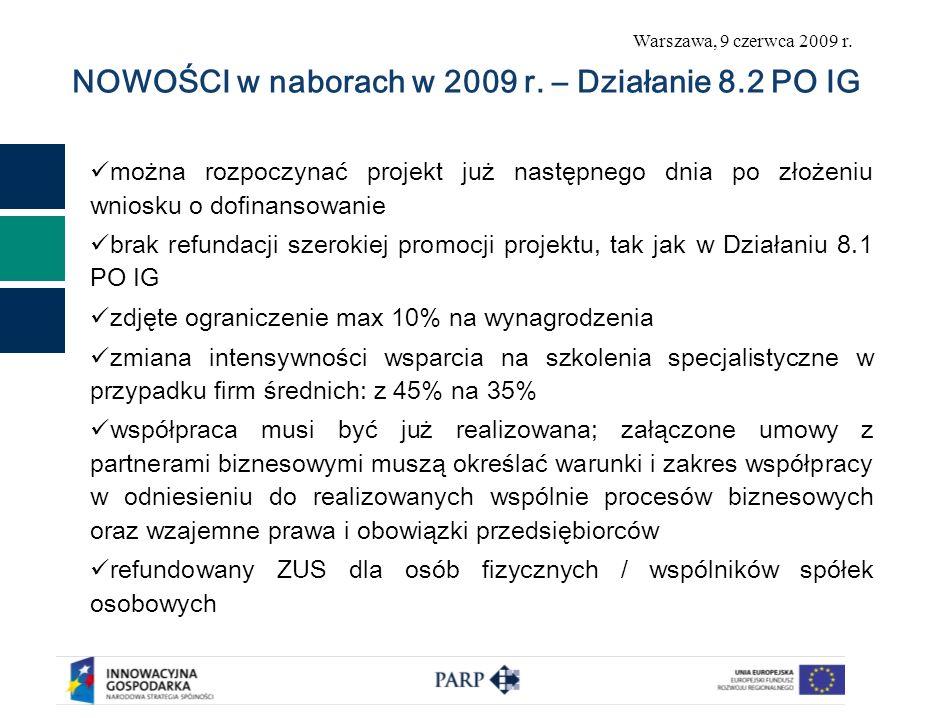 Warszawa, 9 czerwca 2009 r. NOWOŚCI w naborach w 2009 r. – Działanie 8.2 PO IG można rozpoczynać projekt już następnego dnia po złożeniu wniosku o dof