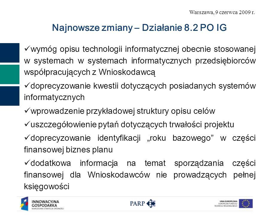 Warszawa, 9 czerwca 2009 r. Najnowsze zmiany – Działanie 8.2 PO IG wymóg opisu technologii informatycznej obecnie stosowanej w systemach w systemach i
