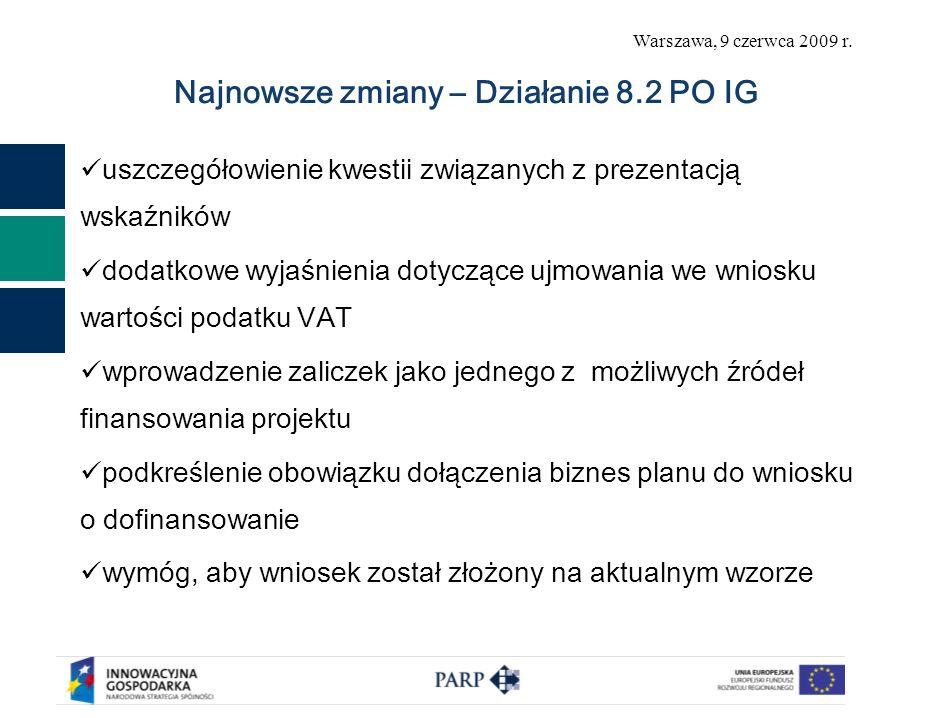 Warszawa, 9 czerwca 2009 r. Najnowsze zmiany – Działanie 8.2 PO IG uszczegółowienie kwestii związanych z prezentacją wskaźników dodatkowe wyjaśnienia
