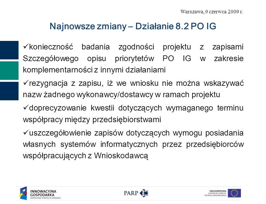 Warszawa, 9 czerwca 2009 r. Najnowsze zmiany – Działanie 8.2 PO IG konieczność badania zgodności projektu z zapisami Szczegółowego opisu priorytetów P