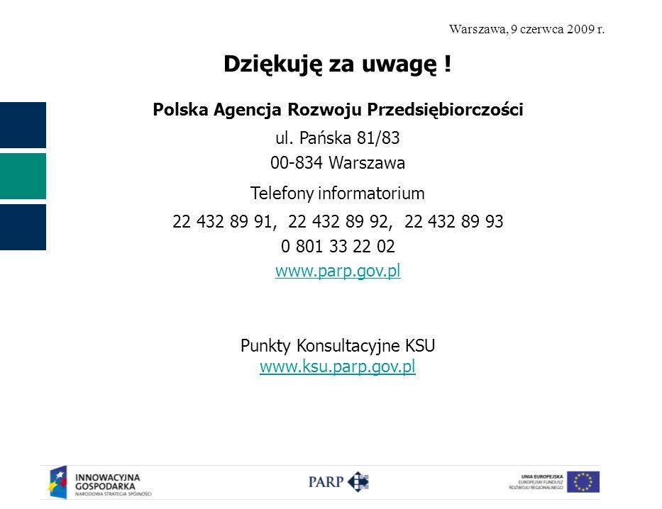 Warszawa, 9 czerwca 2009 r. Dziękuję za uwagę ! Polska Agencja Rozwoju Przedsiębiorczości ul. Pańska 81/83 00-834 Warszawa Telefony informatorium 22 4