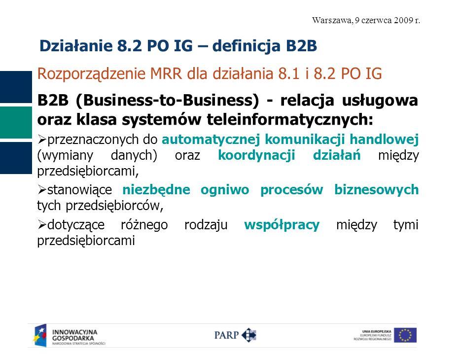 Warszawa, 9 czerwca 2009 r. Działanie 8.2 PO IG – definicja B2B Rozporządzenie MRR dla działania 8.1 i 8.2 PO IG B2B (Business-to-Business) - relacja