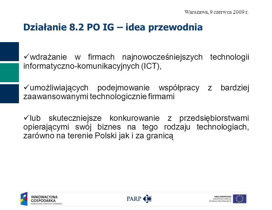 Warszawa, 9 czerwca 2009 r. Działanie 8.2 PO IG – idea przewodnia wdrażanie w firmach najnowocześniejszych technologii informatyczno-komunikacyjnych (