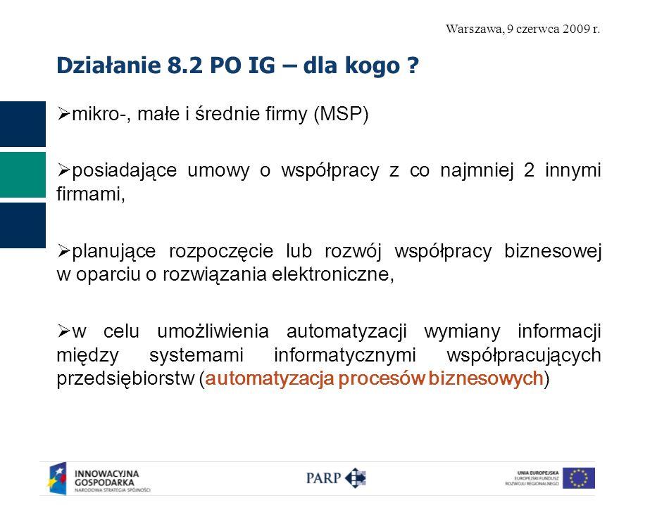 Warszawa, 9 czerwca 2009 r. Działanie 8.2 PO IG – dla kogo ? mikro-, małe i średnie firmy (MSP) posiadające umowy o współpracy z co najmniej 2 innymi