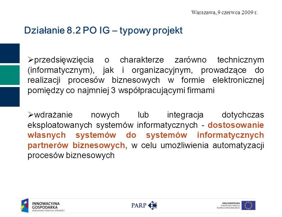 Warszawa, 9 czerwca 2009 r. Działanie 8.2 PO IG – typowy projekt przedsięwzięcia o charakterze zarówno technicznym (informatycznym), jak i organizacyj