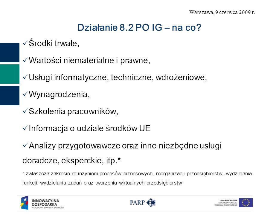 Warszawa, 9 czerwca 2009 r. Działanie 8.2 PO IG – na co? Środki trwałe, Wartości niematerialne i prawne, Usługi informatyczne, techniczne, wdrożeniowe