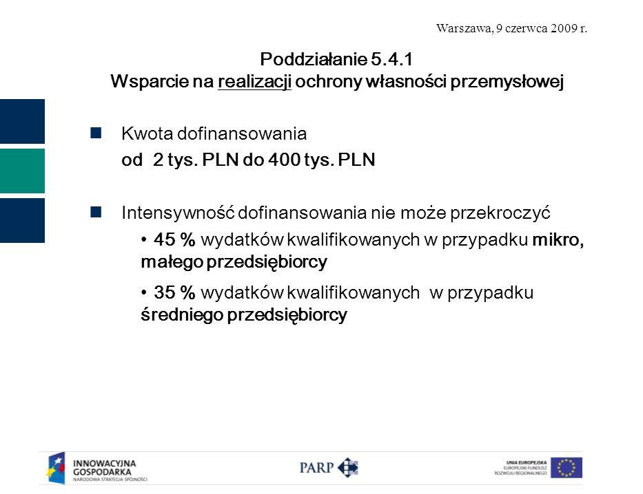 Warszawa, 9 czerwca 2009 r. Kwota dofinansowania od 2 tys.