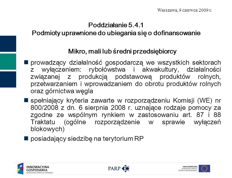 Warszawa, 9 czerwca 2009 r.1. Wsparcie na uzyskanie ochrony własności przemysłowej 2.