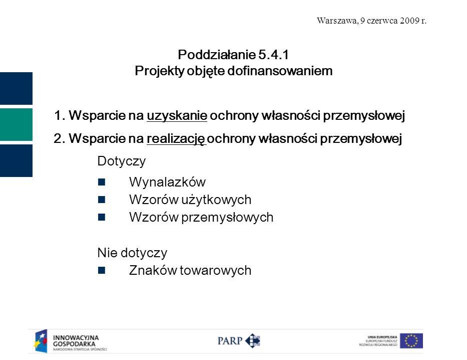 Warszawa, 9 czerwca 2009 r. 1. Wsparcie na uzyskanie ochrony własności przemysłowej 2.
