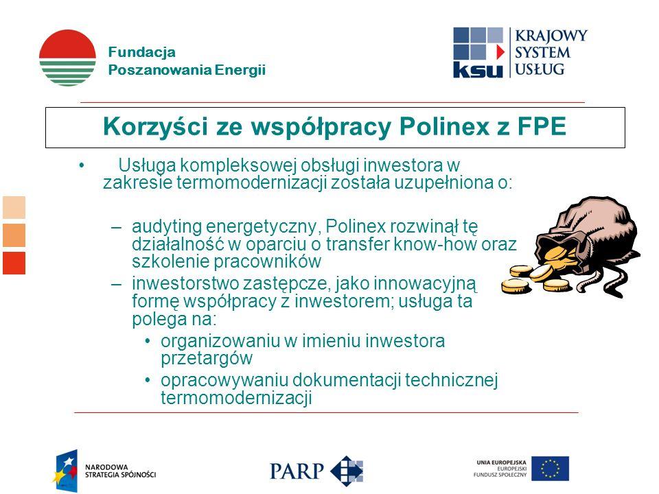Fundacja Poszanowania Energii Korzyści ze współpracy Polinex z FPE Usługa kompleksowej obsługi inwestora w zakresie termomodernizacji została uzupełniona o: –audyting energetyczny, Polinex rozwinął tę działalność w oparciu o transfer know-how oraz szkolenie pracowników –inwestorstwo zastępcze, jako innowacyjną formę współpracy z inwestorem; usługa ta polega na: organizowaniu w imieniu inwestora przetargów opracowywaniu dokumentacji technicznej termomodernizacji