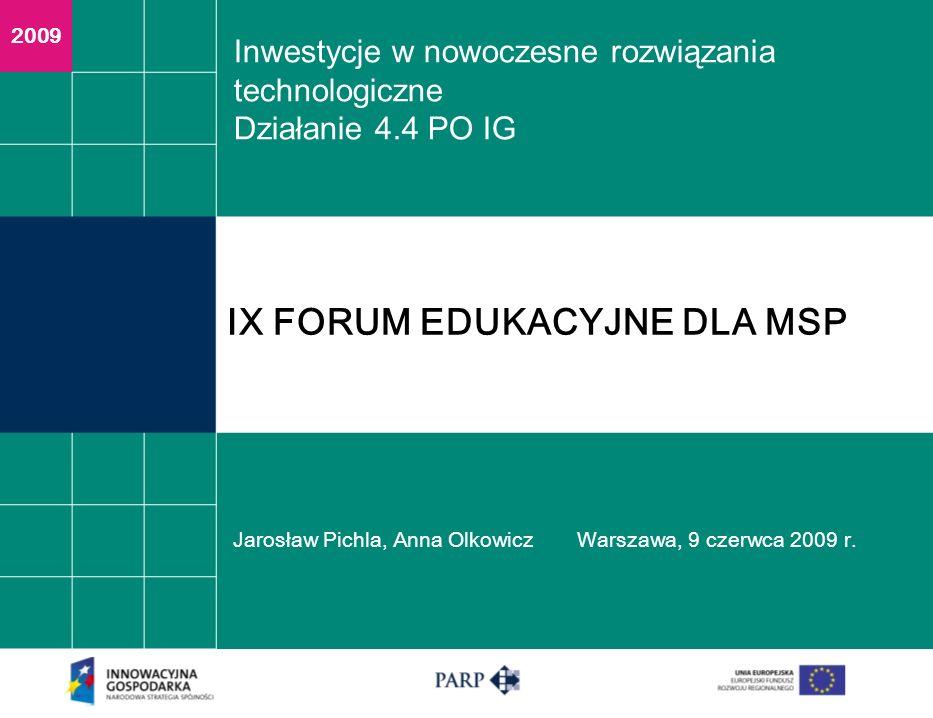 Inwestycje w nowoczesne rozwiązania technologiczne Działanie 4.4 PO IG Jarosław Pichla, Anna OlkowiczWarszawa, 9 czerwca 2009 r.