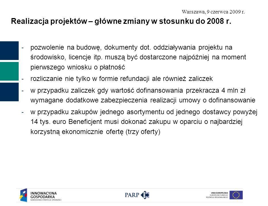 Warszawa, 9 czerwca 2009 r.Realizacja projektów – główne zmiany w stosunku do 2008 r.