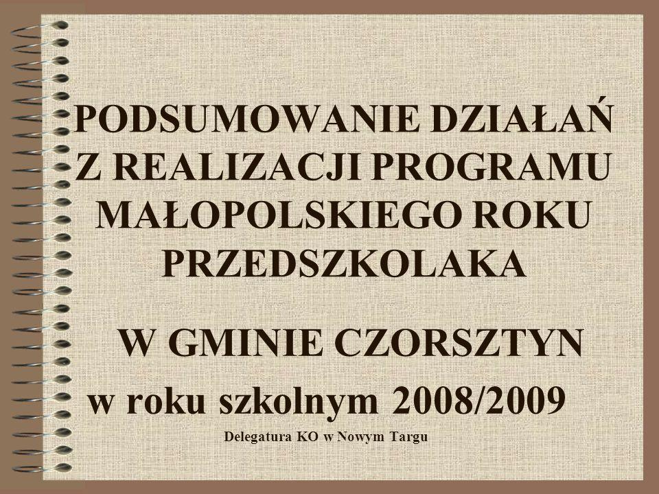 PODSUMOWANIE DZIAŁAŃ Z REALIZACJI PROGRAMU MAŁOPOLSKIEGO ROKU PRZEDSZKOLAKA W GMINIE CZORSZTYN w roku szkolnym 2008/2009 Delegatura KO w Nowym Targu