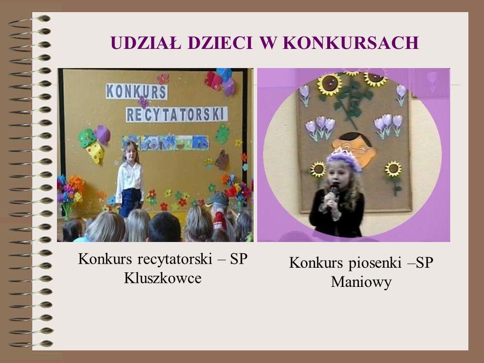 UDZIAŁ DZIECI W KONKURSACH Konkurs recytatorski – SP Kluszkowce Konkurs piosenki –SP Maniowy