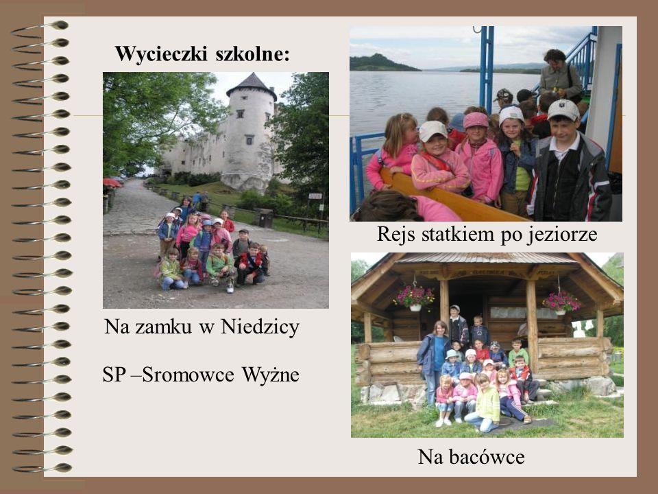 Wycieczki szkolne: Na zamku w Niedzicy Rejs statkiem po jeziorze Na bacówce SP –Sromowce Wyżne
