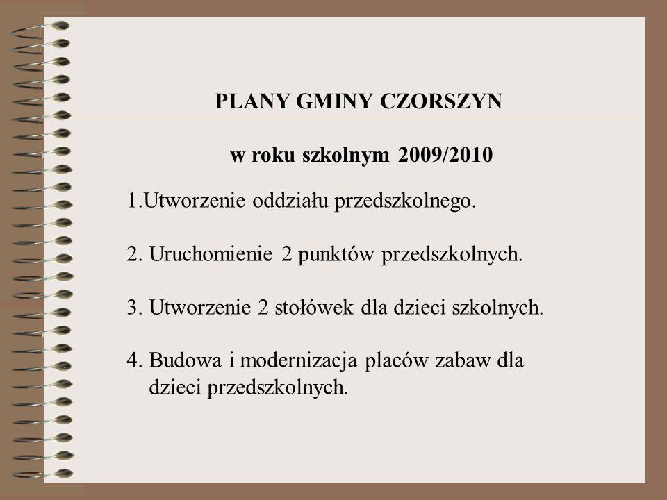 PLANY GMINY CZORSZYN w roku szkolnym 2009/2010 1.Utworzenie oddziału przedszkolnego. 2. Uruchomienie 2 punktów przedszkolnych. 3. Utworzenie 2 stołówe