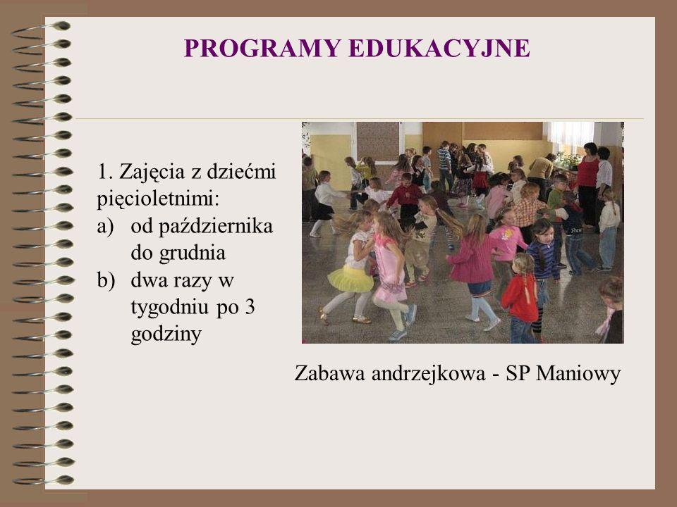 PROGRAMY EDUKACYJNE Zabawa andrzejkowa - SP Maniowy 1. Zajęcia z dziećmi pięcioletnimi: a)od października do grudnia b)dwa razy w tygodniu po 3 godzin