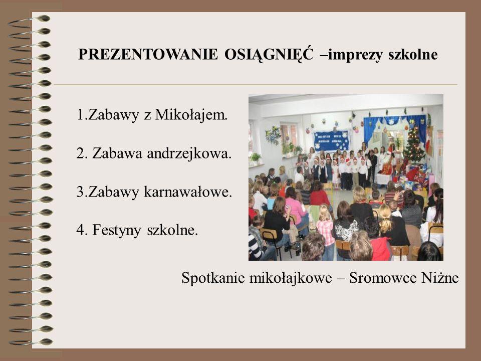 Spotkanie mikołajkowe – Sromowce Niżne PREZENTOWANIE OSIĄGNIĘĆ –imprezy szkolne 1.Zabawy z Mikołajem. 2. Zabawa andrzejkowa. 3.Zabawy karnawałowe. 4.