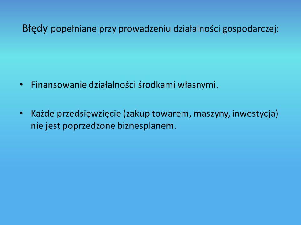 Błędy popełniane przy prowadzeniu działalności gospodarczej: Finansowanie działalności środkami własnymi.