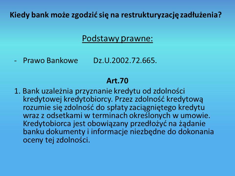 Kiedy bank może zgodzić się na restrukturyzację zadłużenia.