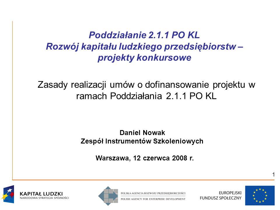 1 Poddziałanie 2.1.1 PO KL Rozwój kapitału ludzkiego przedsiębiorstw – projekty konkursowe Zasady realizacji umów o dofinansowanie projektu w ramach P