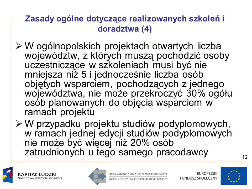 12 Zasady ogólne dotyczące realizowanych szkoleń i doradztwa (4) W ogólnopolskich projektach otwartych liczba województw, z których muszą pochodzić os