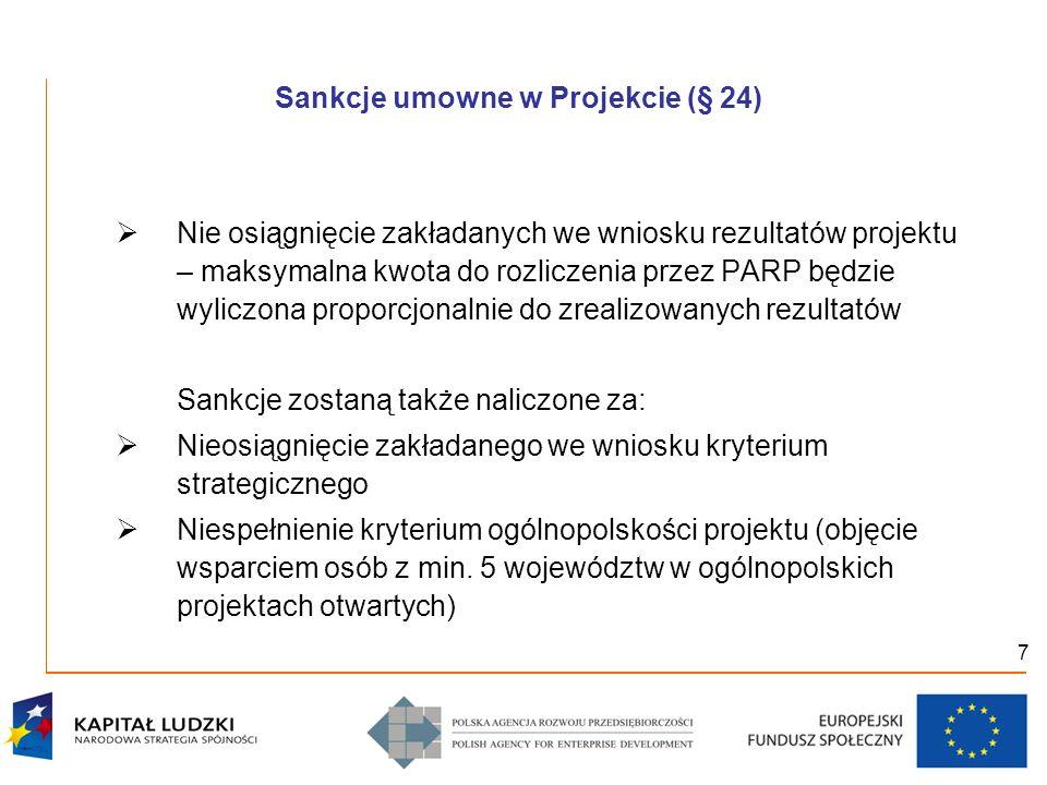 7 Sankcje umowne w Projekcie (§ 24) Nie osiągnięcie zakładanych we wniosku rezultatów projektu – maksymalna kwota do rozliczenia przez PARP będzie wyl
