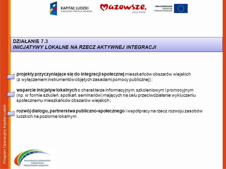DZIAŁANIE 7.3 INICJATYWY LOKALNE NA RZECZ AKTYWNEJ INTEGRACJI DZIAŁANIE 7.3 INICJATYWY LOKALNE NA RZECZ AKTYWNEJ INTEGRACJI projekty przyczyniające się do integracji społecznej mieszkańców obszarów wiejskich (z wyłączeniem instrumentów objętych zasadami pomocy publicznej) ; wsparcie inicjatyw lokalnych o charakterze informacyjnym, szkoleniowym i promocyjnym (np.