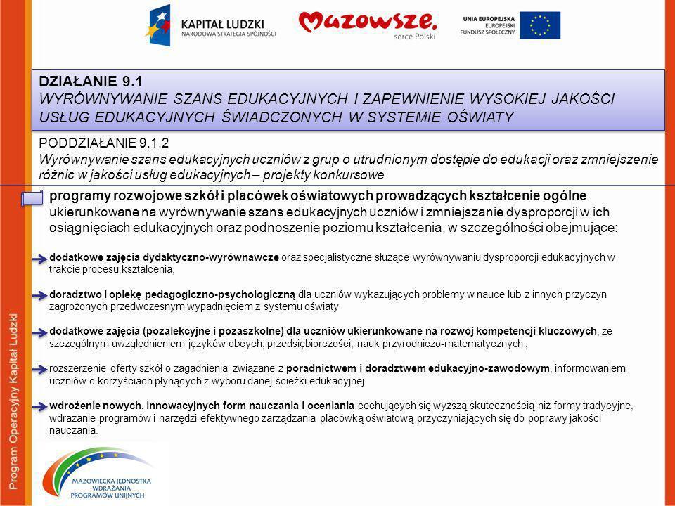 PODDZIAŁANIE 9.1.2 Wyrównywanie szans edukacyjnych uczniów z grup o utrudnionym dostępie do edukacji oraz zmniejszenie różnic w jakości usług edukacyj