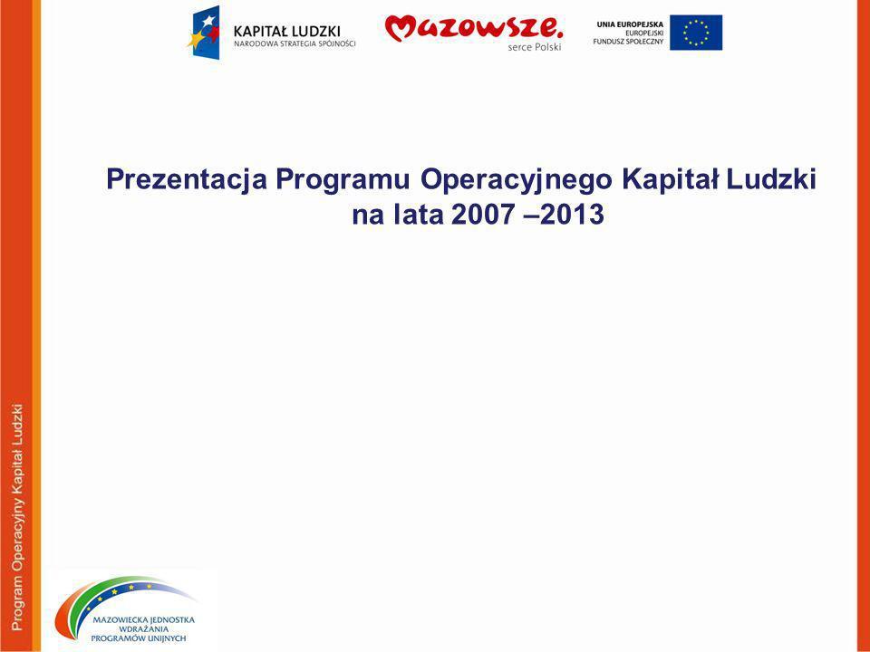 Prezentacja Programu Operacyjnego Kapitał Ludzki na lata 2007 –2013