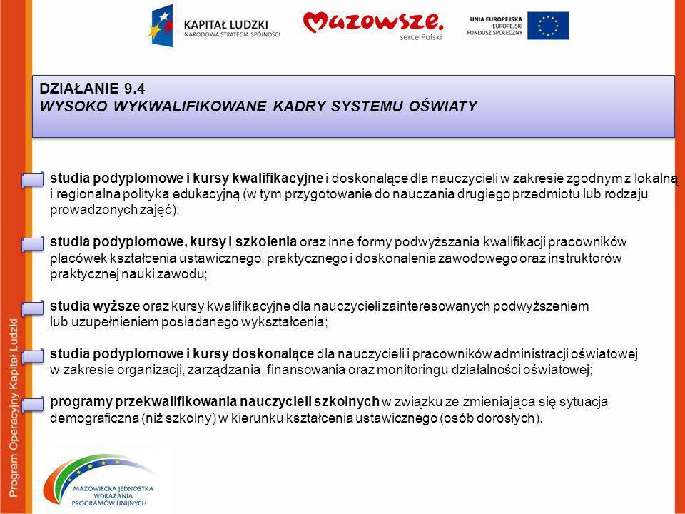DZIAŁANIE 9.4 WYSOKO WYKWALIFIKOWANE KADRY SYSTEMU OŚWIATY DZIAŁANIE 9.4 WYSOKO WYKWALIFIKOWANE KADRY SYSTEMU OŚWIATY studia podyplomowe i kursy kwalifikacyjne i doskonalące dla nauczycieli w zakresie zgodnym z lokalną i regionalna polityką edukacyjną (w tym przygotowanie do nauczania drugiego przedmiotu lub rodzaju prowadzonych zajęć); studia podyplomowe, kursy i szkolenia oraz inne formy podwyższania kwalifikacji pracowników placówek kształcenia ustawicznego, praktycznego i doskonalenia zawodowego oraz instruktorów praktycznej nauki zawodu; studia wyższe oraz kursy kwalifikacyjne dla nauczycieli zainteresowanych podwyższeniem lub uzupełnieniem posiadanego wykształcenia; studia podyplomowe i kursy doskonalące dla nauczycieli i pracowników administracji oświatowej w zakresie organizacji, zarządzania, finansowania oraz monitoringu działalności oświatowej; programy przekwalifikowania nauczycieli szkolnych w związku ze zmieniająca się sytuacja demograficzna (niż szkolny) w kierunku kształcenia ustawicznego (osób dorosłych).