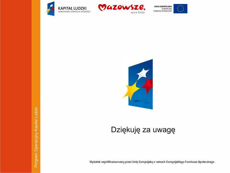 Wydatek współfinansowany przez Unię Europejską w ramach Europejskiego Funduszu Społecznego.