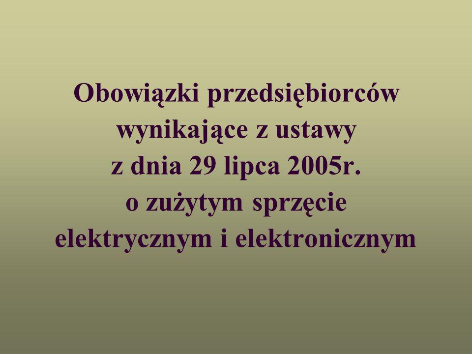 Podstawowe informacje o ustawie o zużytym sprzęcie elektrycznym i elektronicznym Weszła w życie w dniu 21 października 2005r.