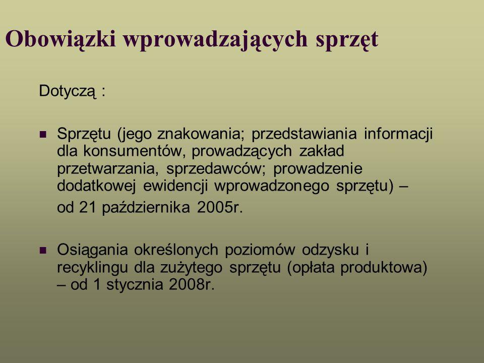Obowiązki wprowadzających sprzęt Dotyczą : Sprzętu (jego znakowania; przedstawiania informacji dla konsumentów, prowadzących zakład przetwarzania, spr