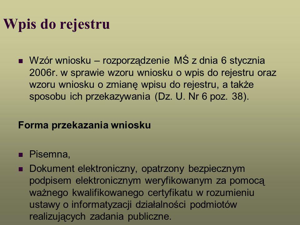Wpis do rejestru Wzór wniosku – rozporządzenie MŚ z dnia 6 stycznia 2006r. w sprawie wzoru wniosku o wpis do rejestru oraz wzoru wniosku o zmianę wpis