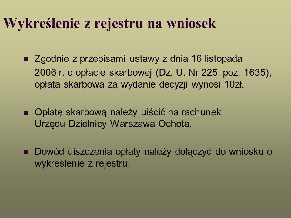 Wykreślenie z rejestru na wniosek Zgodnie z przepisami ustawy z dnia 16 listopada 2006 r. o opłacie skarbowej (Dz. U. Nr 225, poz. 1635), opłata skarb