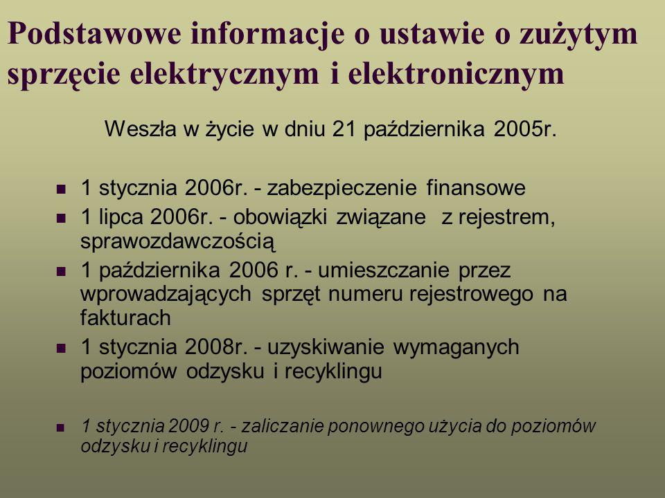Podstawowe informacje o ustawie o zużytym sprzęcie elektrycznym i elektronicznym Weszła w życie w dniu 21 października 2005r. 1 stycznia 2006r. - zabe