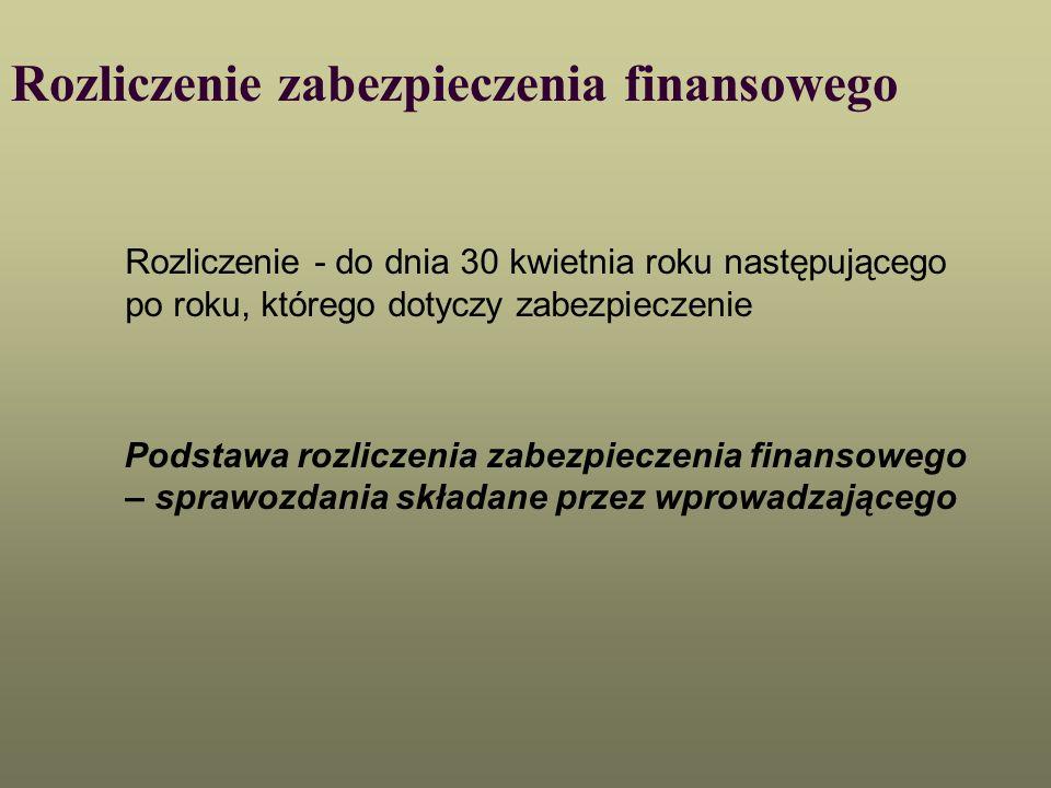 Rozliczenie zabezpieczenia finansowego Rozliczenie - do dnia 30 kwietnia roku następującego po roku, którego dotyczy zabezpieczenie Podstawa rozliczen
