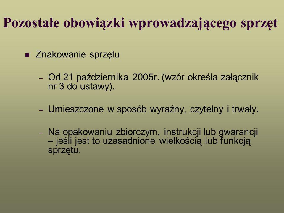 Pozostałe obowiązki wprowadzającego sprzęt Znakowanie sprzętu – Od 21 października 2005r. (wzór określa załącznik nr 3 do ustawy). – Umieszczone w spo