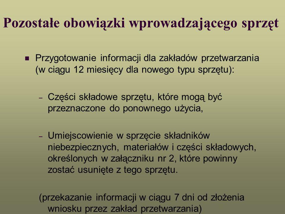 Pozostałe obowiązki wprowadzającego sprzęt Przygotowanie informacji dla zakładów przetwarzania (w ciągu 12 miesięcy dla nowego typu sprzętu): – Części