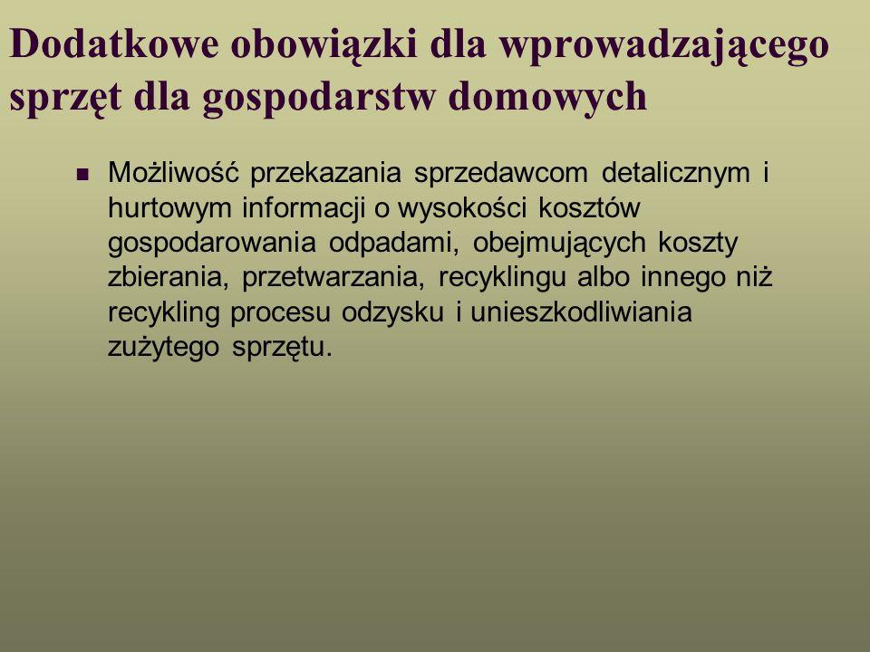 Dodatkowe obowiązki dla wprowadzającego sprzęt dla gospodarstw domowych Możliwość przekazania sprzedawcom detalicznym i hurtowym informacji o wysokośc