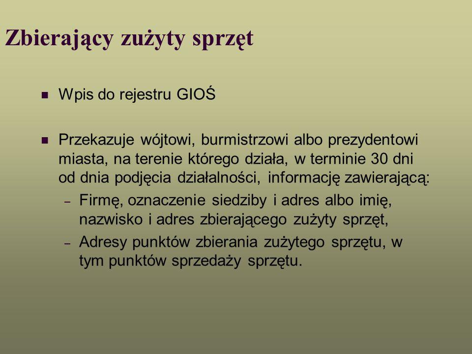 Zbierający zużyty sprzęt Wpis do rejestru GIOŚ Przekazuje wójtowi, burmistrzowi albo prezydentowi miasta, na terenie którego działa, w terminie 30 dni