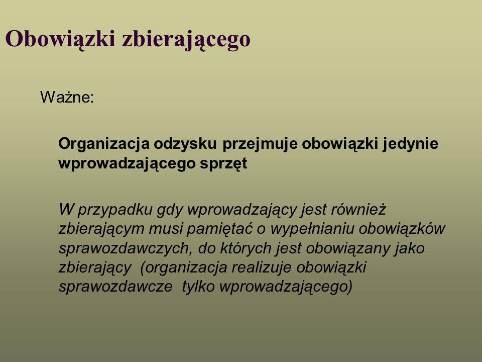 Obowiązki zbierającego Ważne: Organizacja odzysku przejmuje obowiązki jedynie wprowadzającego sprzęt W przypadku gdy wprowadzający jest również zbiera