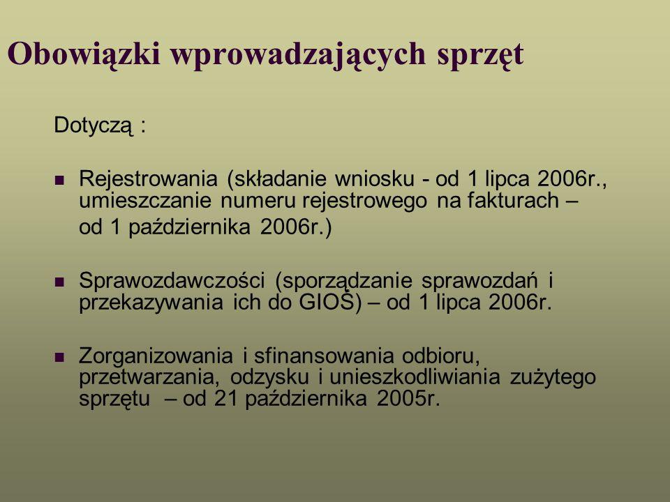 Obowiązki wprowadzających sprzęt Dotyczą : Sprzętu (jego znakowania; przedstawiania informacji dla konsumentów, prowadzących zakład przetwarzania, sprzedawców; prowadzenie dodatkowej ewidencji wprowadzonego sprzętu) – od 21 października 2005r.