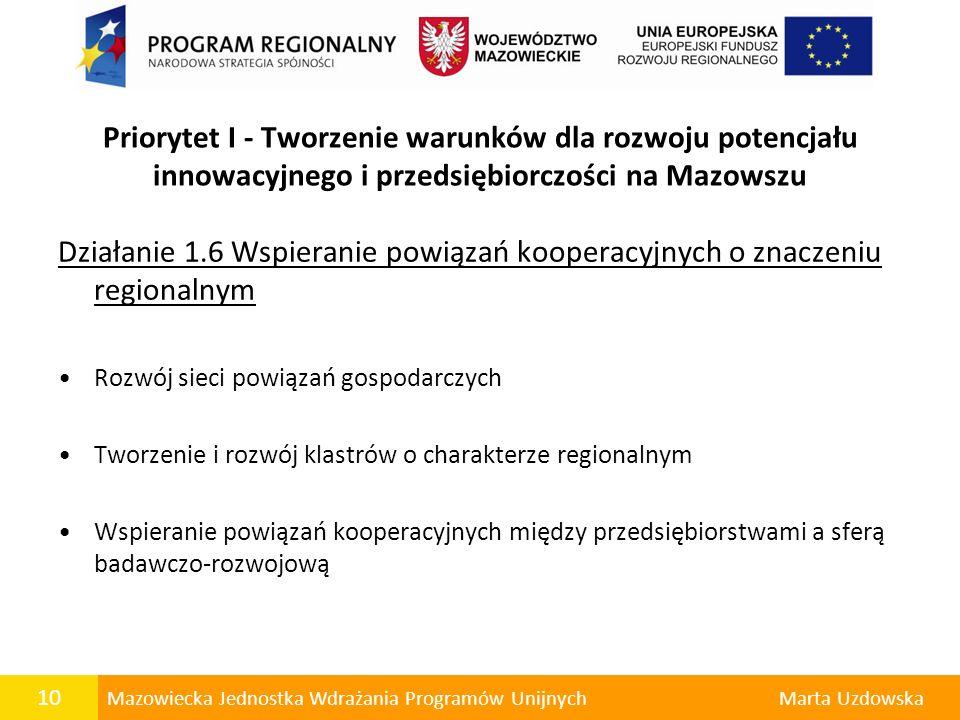 10 Mazowiecka Jednostka Wdrażania Programów UnijnychMarta Uzdowska Działanie 1.6 Wspieranie powiązań kooperacyjnych o znaczeniu regionalnym Rozwój sie