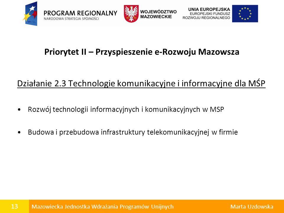 13 Mazowiecka Jednostka Wdrażania Programów UnijnychMarta Uzdowska Priorytet II – Przyspieszenie e-Rozwoju Mazowsza Działanie 2.3 Technologie komunika